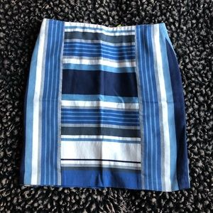 J.Mclaughlin blue and white striped pencil skirt 8